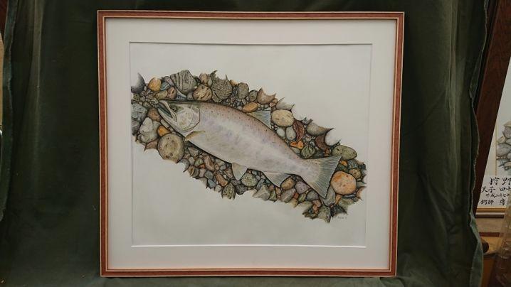 昨年釣った42cmの激太アマゴの魚拓絵を描きました。