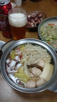 その後…蛸しゃぶ鍋となりました🎵 ビール旨し( ^-^)ノ∠※…