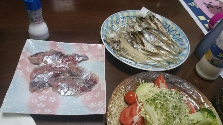自然の恵🍀頂きます🎵 東京湾のアジ刺身は最高ですね☺