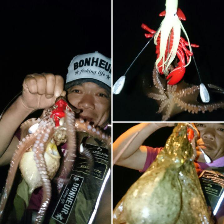 日暮れからは…蛸狩り‼ 0.72㌔を頭に3連発(^^)v 蛸…