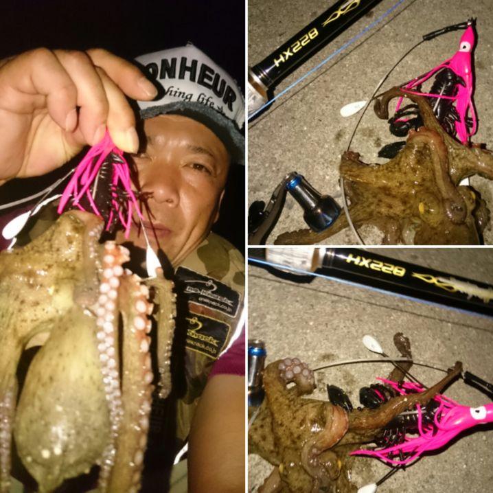 台風直撃前に…午前&午後に蛸GET‼ワンナック販売Newデビルクローブラックラメが速攻で蛸を誘い出してくれました…笑⤴